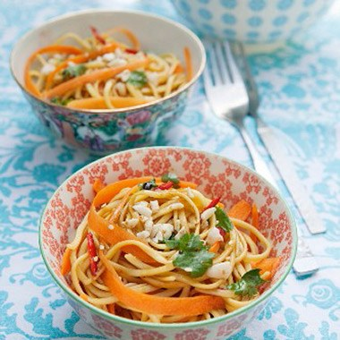 linguine tossed with stir fry vegetables and soy-almond butter sauce