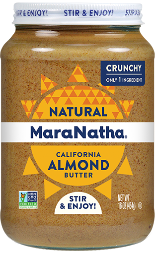 MaraNatha Almond Butter Crunchy 16oz. Stir and Enjoy.